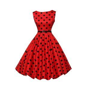 Dresses & Skirts - Red Dots Boatneck Vintage Tea Belted Dress